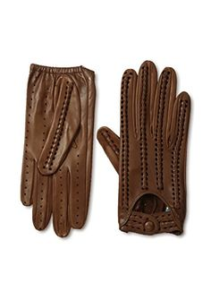 Portolano Women's Perforated Leather Driving Gloves (Tobacco)