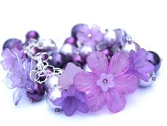 Chunky charm bracelet  Purple  lucite/arcrylic and by SassySpark