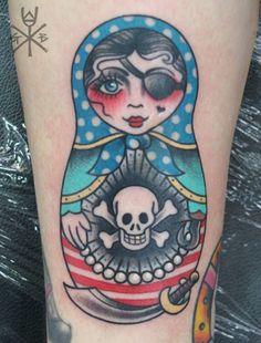 Pirate doll by Gemma B at Cherrys Tattoos, Hornchurch Essex!