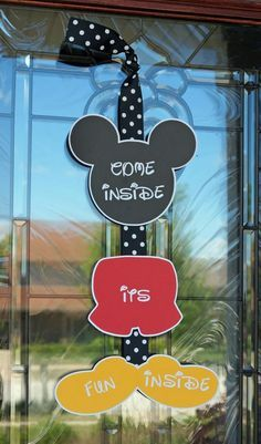Cute Mickey Mouse welcome sign for a Disney themed birthday party