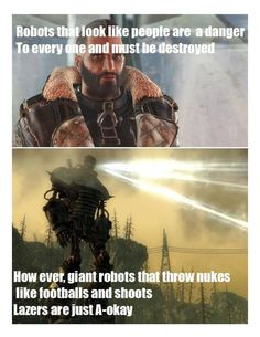 giant robots that throw nukes like foothills and shoots mots are inst Awwkay. Fallout 4 Funny, Fallout 4 Mods, Fallout Art, Fallout New Vegas, The Elder Scrolls, Gamer Meme, Gaming Memes, Video Game Memes, Video Games