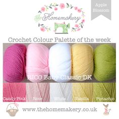 This weeks Apple Blossom inspired Crochet Colour Palette uses spring blossom shades from Rico Baby Classic DK, a fantastic acrylic DK.