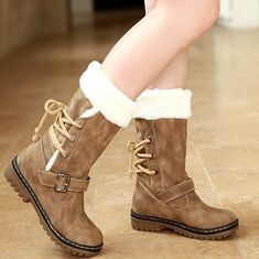 2016 Womens Vintage Mid Calf Riding Boots Warm Snow Shoes Lace Up Slip On  Winter 2e77baca8d92