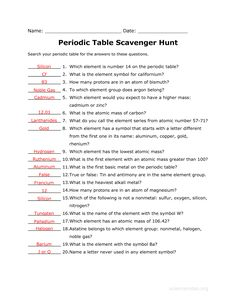 answer key to the periodic table scavenger hunt worksheet related - Periodic Table Worksheets For 6th Grade