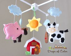 "RESERVED - Baby Crib Mobile - Baby Mobile - Farm Mobile - Nursery Crib Mobile - Cow, Pig, Dog, Rooster, Barn ""Old Macdonal Farm Mobile"". $95.00, via Etsy."