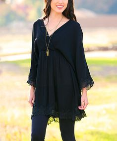 Black Lace Livia Tunic Dress #zulily #zulilyfinds
