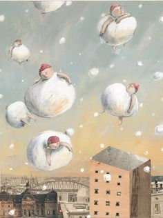 Snowballs - by Anna Castagnoli. this painting made me feel happy for some… Art And Illustration, Illustrations Posters, Stephen Mackey, Kunst Online, Art Corner, Anna, Art Images, Drawings, Artwork