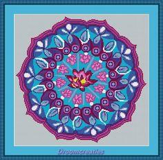 Mandala Pink Lotus - download kruissteek borduurpatroon pdf - 189 x 183 kruissteken - 34 x 34 cm