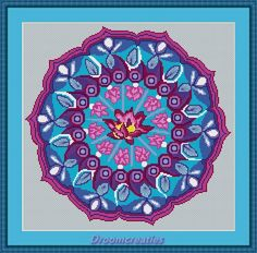 Mandala Pink Lotus counted crossstitch embroidery pattern by Droomcreaties