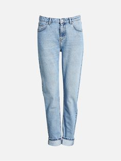 A pair of loose fit girlfriend jeans, high waist, tapered legs. Stone wash. Blå
