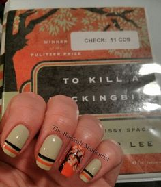 13 Book Inspired Nail Art Designs - To Kill a Mockingbird by Harper Lee Love Nails, How To Do Nails, Pretty Nails, My Nails, Book Nail Art, Literary Gifts, To Kill A Mockingbird, Nail Spa, So Little Time