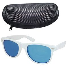 cd1a9513aab LotFancy Wayfarer Sunglasses for Women Men with Case White Blue Mirrored --  Click image for more details.Note It is affiliate link to Amazon.