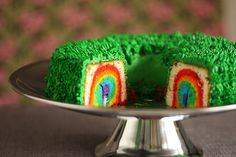"""A great modification of this would be to bake yellow cake, slice it into rounds, then hide the """"Leprechaun Gold"""" in a spot in the cake. Then make it a game! Whoever gets the slice with the Leprechaun Gold gets a little prize or something :) Cupcakes, Cupcake Cakes, Holiday Treats, Holiday Fun, Holiday Cakes, Holiday Foods, St Patricks Day Cakes, Leprechaun Trap, Leprechaun Gold"""