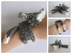 Rainbow Loom 3D WOLF bracelet. Designed and loomed by Nancy at Loombicious. Click photo for YouTube tutorial. 10/05/14.