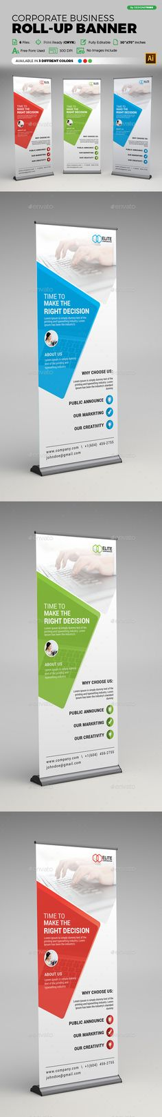 Corporate Business Roll-up Banner Template Vector EPS, AI Illustrator. Download here: https://graphicriver.net/item/corporate-business-rollup-banner/19217196?ref=ksioks