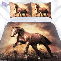 Horse - Brown Blaze Quilt Cover set Avail in Single, Double, Queen & King Bed #JustHome