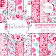 Valentine Digital Paper Pack Watercolor Roses Seamless Patterns Love Hearts Pink Mint Romantic Wedding Instant Download Handpainted Original (4.80 USD) by froufroucraft
