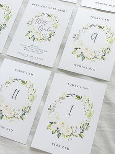 Baby Milestone Cards - White Garden