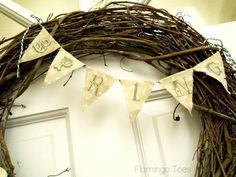 Im going to do this with a plain wreath i have Homemade Things, Shabby Flowers, Spring Has Sprung, Grapevine Wreath, Flamingo, Printing On Fabric, Diy And Crafts, Crafting, Easter