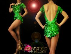 Classic Showgirl's Green Jumbo glitter sequin fringe Latin Dance Leotard