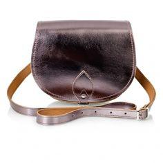 Zatchels Leather Metallic Saddle Bag
