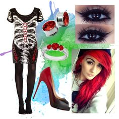 blood moon by jamkelly on Polyvore featuring polyvore fashion style SPANX Christian Louboutin LoveBrightJewelry
