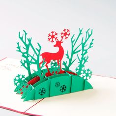 Paper DArt Christmas Cards Robins Table 3D Pop-Up Christmas Card