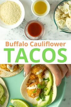 You need these tacos in your life! Crunchy, spicy buffalo cauliflower is the star of these decadent, 30-minute cauliflower tacos. Top them with avocado, cilantro, and velvety garlic cashew crema!  #buffalocauliflower #tacos #vegantacos #airfryer #oven #baked #cauliflowertacos Tofu Tacos, Bbq Tofu, Vegan Tacos, Cauliflower Bread, Cauliflower Tacos, Buffalo Cauliflower, Vegan Breakfast Recipes, Delicious Vegan Recipes, Vegan Buffalo Sauce