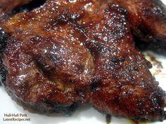 Huli-Huli Pork Steak = Ingredients lbs kilogram) pork tenderloins or pork chops /steaks Marinade cup ketchup cup soy sauce 3 tablespoons packed brown sugar 3 tablespoons mirin or lime juice 1 tablespoon grated ginger 4 cloves garlic, minced ---- Pork Rib Recipes, Grilling Recipes, Cooking Recipes, Steak Recipes, Barbecue Recipes, Chicken Recipes, Pork Meals, Cooking Pork, Healthy Recipes