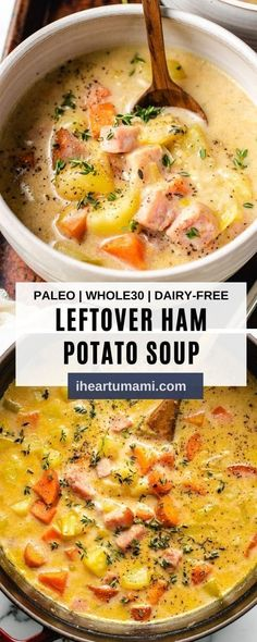 Creamy Ham Potato Soup with Leeks uses leftover ham and tastes like your favorite chowder but dairy-free! A great leftover ham soup recipe! #soup #chowder #ham #holidayrecipe #leftoverhamrecipe Paleo Meal Prep, Whole30 Dinner Recipes, Paleo Recipes Easy, Whole 30 Recipes, Soup Recipes, Dairy Free Ham Recipes, Crockpot Recipes, Recipies, Ham And Potato Soup