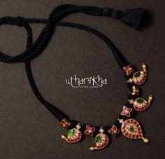 Thread Jewellery, Gold Jewellery Design, Beaded Jewelry, Beaded Necklace, Necklaces, Gold Jewelry Simple, Black Thread, Jewelry Model, Black Necklace