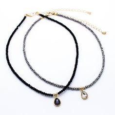Beaded charm choker necklace