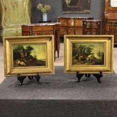 Price: 1450€ Couple of French paintings of the mid-nineteenth century. Paintings oil on panel depicting views with game and hunting dogs of excellent pictorial quality. Carved and golden wooden frames with some small fall of gilding, to take up again. In good conditions with some small signs of the time. #antiques #antiquariato Visit our website www.parino.it