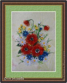 Картина панно рисунок Квиллинг Полевые цветы Бумага Бумажные полосы фото 1