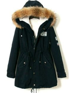 Cheap winter coat women, Buy Quality warm coat directly from China winter coat Suppliers: ROMWE Faux Fur Trim Hooded Parka Winter Coat Women Navy Zip Up Long Sleeve Jackets 2017 New Casual Patch Drawstring Warm Coat Blue Fur Coat, Navy Coat, Blue Coats, Long Parka Coats, Long Hooded Coat, Hooded Parka, Hooded Coats, Trench Coats, Sweatshirts