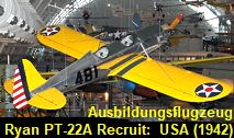Ryan PT-22A Recruit: Ausbildungsflugzeug der United States Army Air Corps Charles Lindbergh, United States Navy, Army, The Unit, Helicopters, Aircraft, Simple Machines, Pilots, Aviation