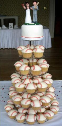 Grooms cake idea for the sports fanatic (could work for any individual sport too!) sports save the dates, baseball save the dates Themed Wedding Cakes, Wedding Cakes With Cupcakes, Wedding Themes, Cupcake Cakes, Cupcake Wedding, Wedding Ideas, Twinkie Cupcakes, Shoe Cakes, Themed Weddings