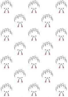 FREE printable turkey pattern paper | funny Thanksgiving paper | ink saving