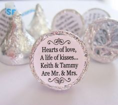 Mr. and Mrs. Kisses Stickers Personalized Wedding Hershey Labels Favors - Set of 192 Stickers on Etsy, $15.00