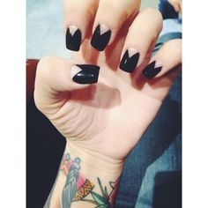 Black nails, reverse French tip, edgy nails
