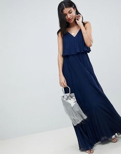 ASOS Tall | ASOS DESIGN Tall pleated crop top maxi dress