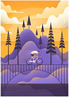 Illustration design with grain texture. showcase and discover creative work on the world's leading online platform for creative industries. Art And Illustration, Illustration Inspiration, Flat Design Illustration, Illustrations And Posters, Bicycle Illustration, Mountain Illustration, Photography Illustration, Creative Illustration, Fashion Illustrations