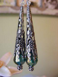 Peacock green Czech glass teardrop earrings w/ by LorisJewelryBox, $14.00