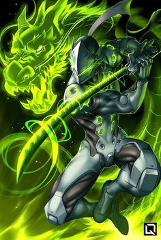 "Ryujin no ken wo kurae! - Overwatch fan art by Drake (Winson) Tsui ""A series of illustrations featuring characters performing their ""Ultimates"" from Blizzard's Overwatch"" More from Drake Tsui's. Genji Overwatch, Overwatch Comic, Overwatch Memes, Overwatch Fan Art, Overwatch Ultimates, Overwatch Dragons, Gaming Wallpapers, Animes Wallpapers, Character Art"