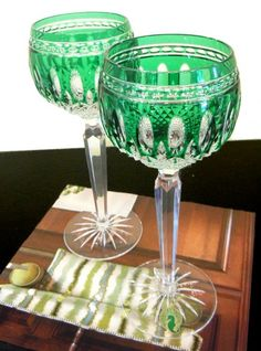 Waterford Crystal, Green Wine Goblets  Set of (2)   Previously Enjoyed Price: $148