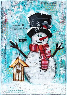 Snowman. Mixed media collage. Size 21*30 cm. Made by Daria Pneva. More details on blog.
