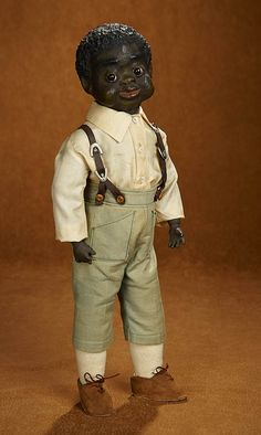 Tears for Mina - March 2018 at the Hyatt Coconut Point, Naples, FL: 83 American Black-Complexioned Paper Mache Character Boy by Leo Moss Old Dolls, Antique Dolls, Vintage Dolls, Lil Black, Black And Brown, Paper Mache Head, African American Dolls, Black Characters, Boy Costumes
