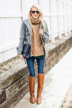 Layer a plaid button-down under a chunky turtleneck and toggle coat.