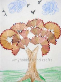 Google Image Result for http://3.bp.blogspot.com/_GnGnjF7PA0U/TMHWg8eRaWI/AAAAAAAAAGI/M8H2VIwly-I/s640/Tree.JPG Pencil Shavings, Pencil Sharpener, Pencil Crafts, Pencil Art, Grandma Crafts, Recycled Art Projects, Earth Day Crafts, Craft Stick Crafts, Classroom Crafts
