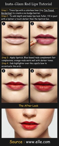 10 Tutorials for Perfect Lipstick Glamorous red lips tutorial. Shop at for your makeup essentials. Shop at for your makeup essentials. Lip Tutorial, Lip Makeup Tutorial, Diy Makeup, Lipstick Tutorial, Eyebrow Tutorial, Fall Makeup, Makeup Ideas, Daily Beauty Tips, Diy Beauty